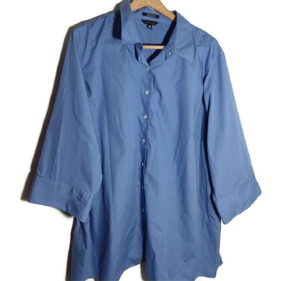 Land's End Blue Button Down Blouse